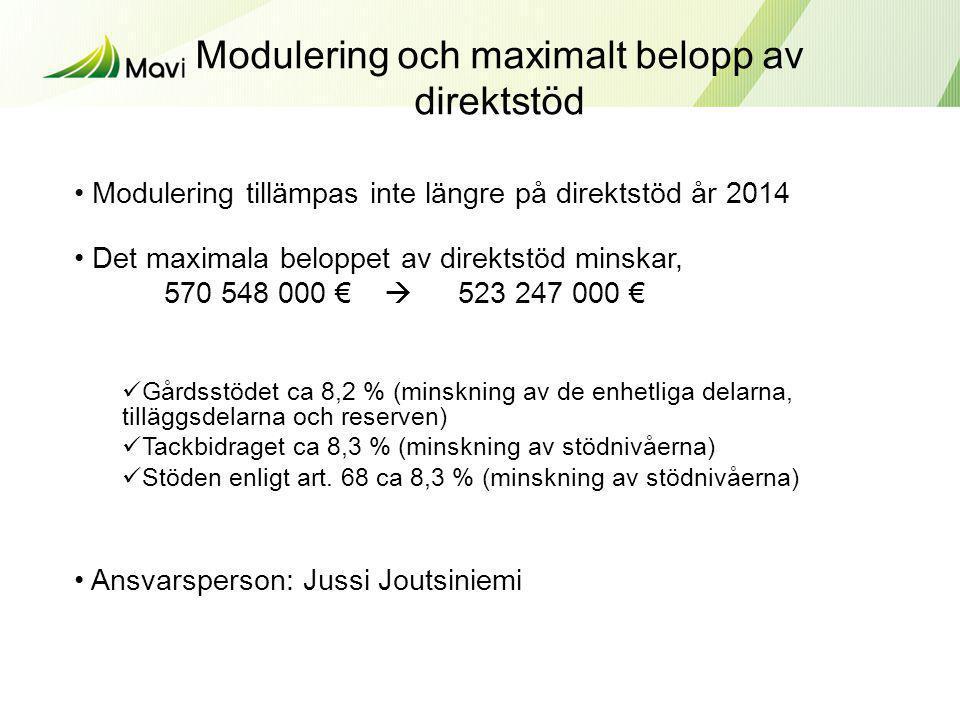 Modulering och maximalt belopp av direktstöd • Modulering tillämpas inte längre på direktstöd år 2014 • Det maximala beloppet av direktstöd minskar, 5