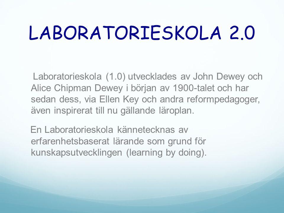 LABORATORIESKOLA 2.0 Laboratorieskola (1.0) utvecklades av John Dewey och Alice Chipman Dewey i början av 1900-talet och har sedan dess, via Ellen Key