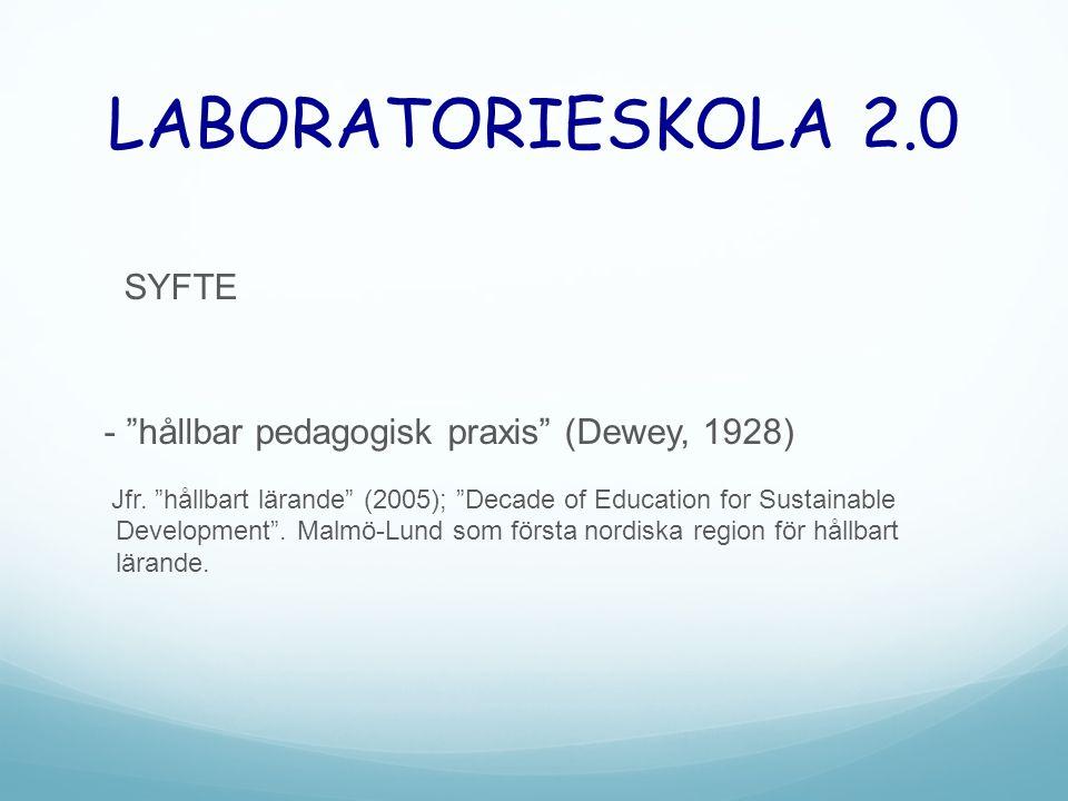 "LABORATORIESKOLA 2.0 SYFTE - ""hållbar pedagogisk praxis"" (Dewey, 1928) Jfr. ""hållbart lärande"" (2005); ""Decade of Education for Sustainable Developmen"