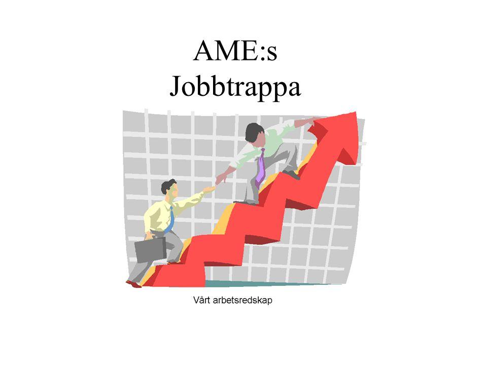 . Allmän information om modellen - Trappan3 Jobbtrappa AME i bild4 De 6 stegen5 Steg 1-4 på Arbetscentrum6 Steg 1 - Utredning och kartläggning AME- besök med utredning och kartläggning7-8 Fördjupad kartläggning på AC9 Steg 2 - Lättare arbetsträning AME- sekreterarens arbete och uppdrag10-11 AC- Planeringsdokument12 Steg 3 - Arbetsträning AME- sekreterarens arbete och uppdrag13 AC- Planeringsdokument14 Steg 4 - Självständigt arbete AME- sekreterarens arbete och uppdrag15 AC- Planeringsdokument16 Steg 5-6 - Extern praktik/Externt arbete AME- sekreterarens arbete och uppdrag17 Jobb i AME- huset18 Arbetsuppgifter på Arbetscentrum19-21 Schema för arbetstagare22 Innehåll