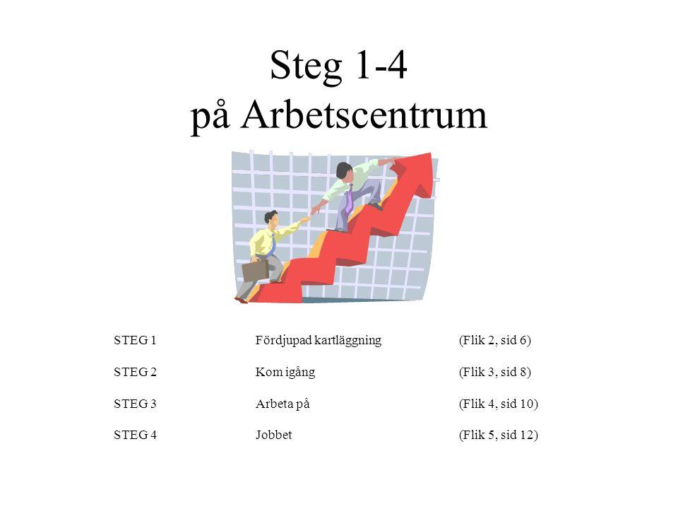 Steg 1-4 på Arbetscentrum STEG 1Fördjupad kartläggning (Flik 2, sid 6) STEG 2 Kom igång(Flik 3, sid 8) STEG 3Arbeta på(Flik 4, sid 10) STEG 4Jobbet (F