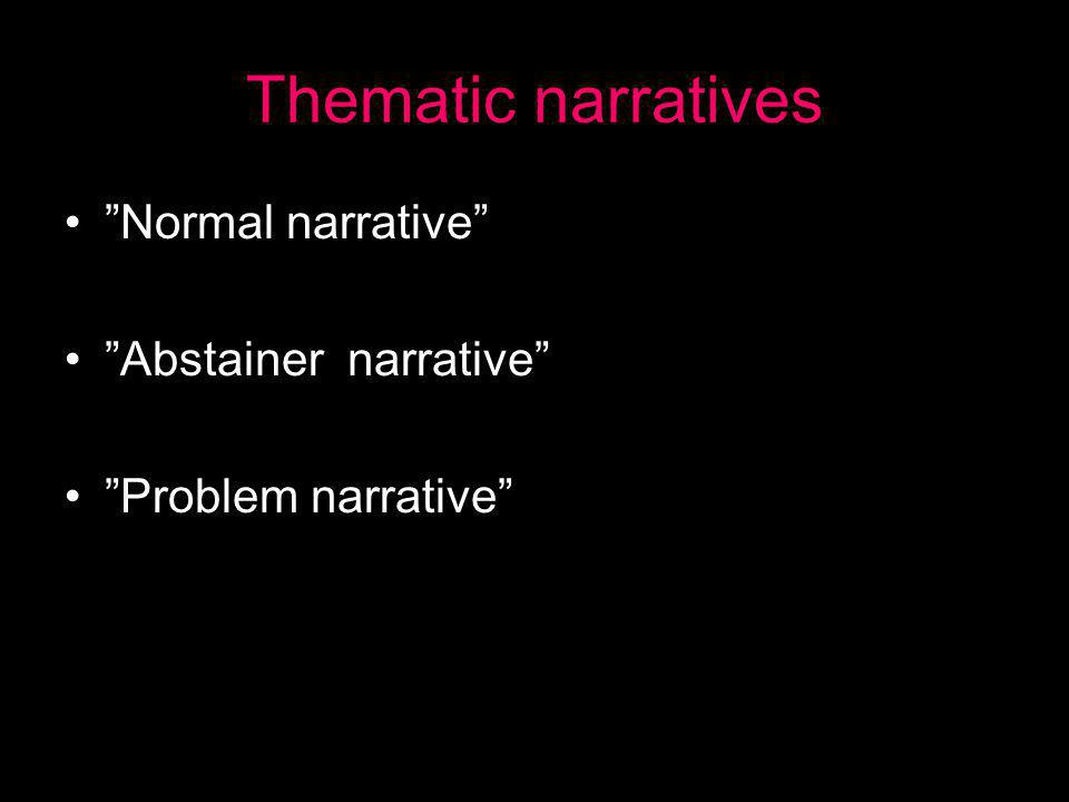 Thematic narratives • Normal narrative • Abstainer narrative • Problem narrative