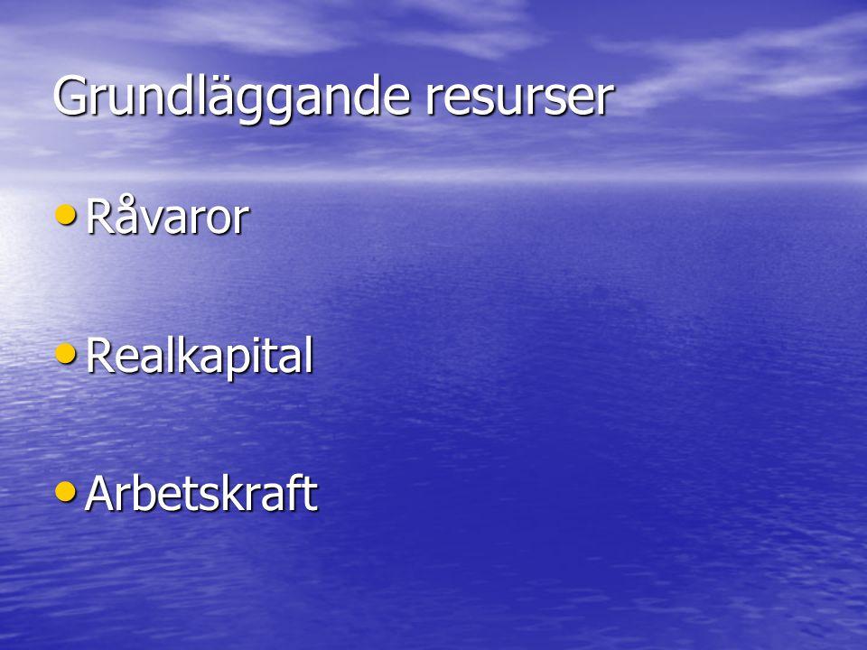 Grundläggande resurser • Råvaror • Realkapital • Arbetskraft