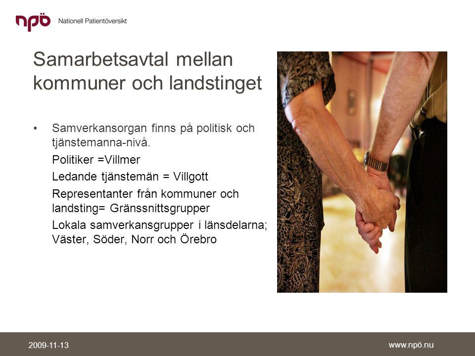 www.npö.nu 2009-11-13 Samarbetsavtal mellan kommuner och landstinget •Samverkansorgan finns på politisk och tjänstemanna-nivå.