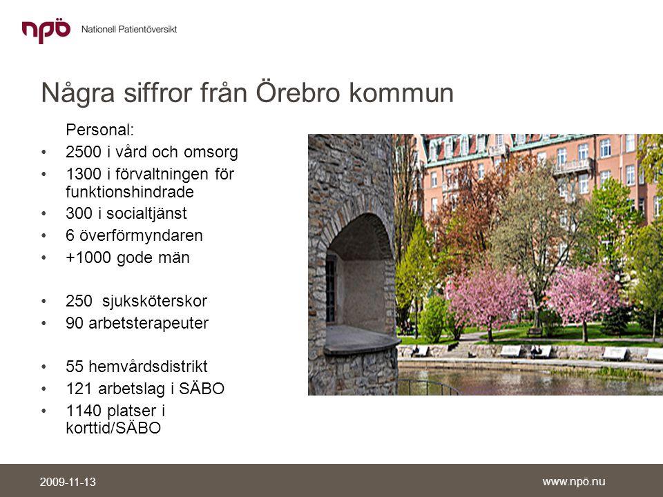www.npö.nu 2009-11-13 Stora patientströmmar •Stort intresse av att dela vårdinformation eftersom de största patientströmmarna går mellan landsting och kommun.
