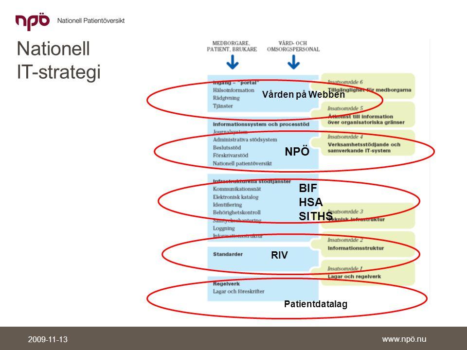 www.npö.nu 2009-11-13 Information och samtycke Syftet är att få en mer samlad bild av patientens vårdbehov för att kunna ge bästa möjliga vård.