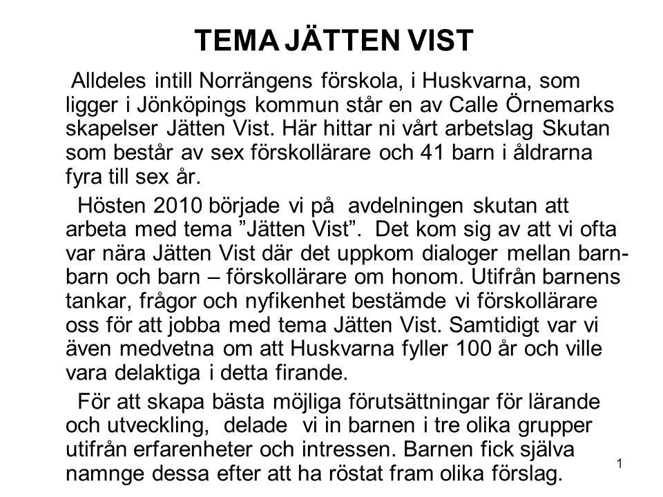 1 Alldeles intill Norrängens förskola, i Huskvarna, som ligger i Jönköpings kommun står en av Calle Örnemarks skapelser Jätten Vist. Här hittar ni vår