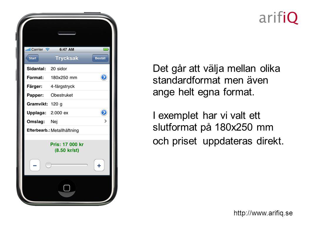 http://www.arifiq.se Det går att välja mellan olika standardformat men även ange helt egna format.