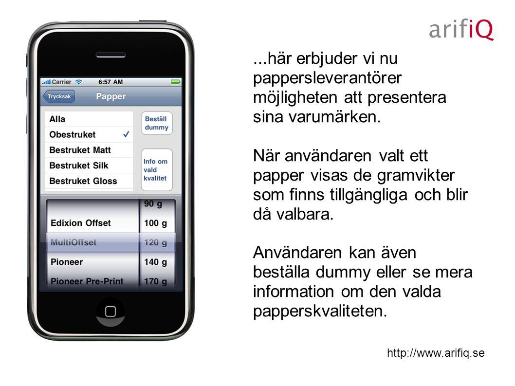 http://www.arifiq.se När användaren klickat på knappen Info om vald kvalitet presenteras vidare information för att vägleda i pappersvalet.