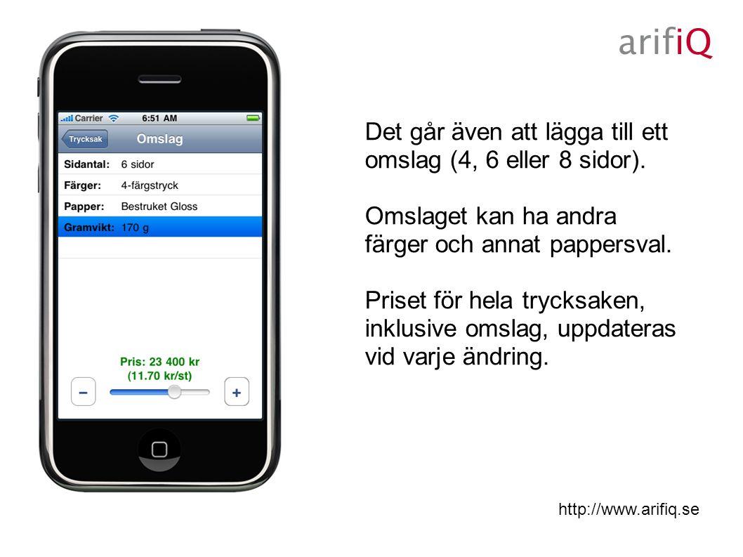 http://www.arifiq.se Det går även att lägga till ett omslag (4, 6 eller 8 sidor).