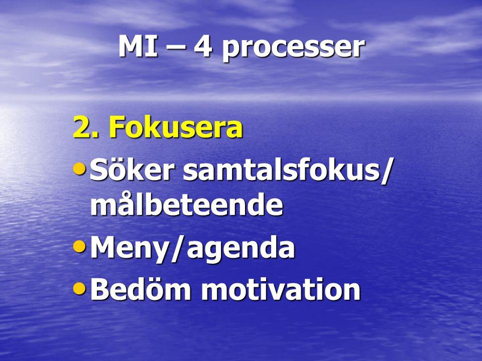 MI – 4 processer 2. Fokusera • Söker samtalsfokus/ målbeteende • Meny/agenda • Bedöm motivation