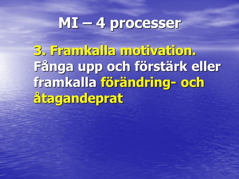 MI – 4 processer 3. Framkalla motivation. Fånga upp och förstärk eller framkalla förändring- och åtagandeprat