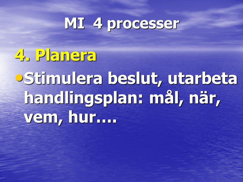 MI 4 processer 4. Planera • Stimulera beslut, utarbeta handlingsplan: mål, när, vem, hur….