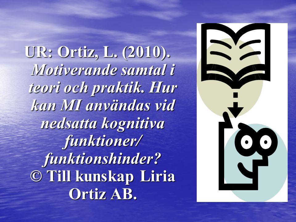 UR: Ortiz, L. (2010). Motiverande samtal i teori och praktik. Hur kan MI användas vid nedsatta kognitiva funktioner/ funktionshinder? © Till kunskap L