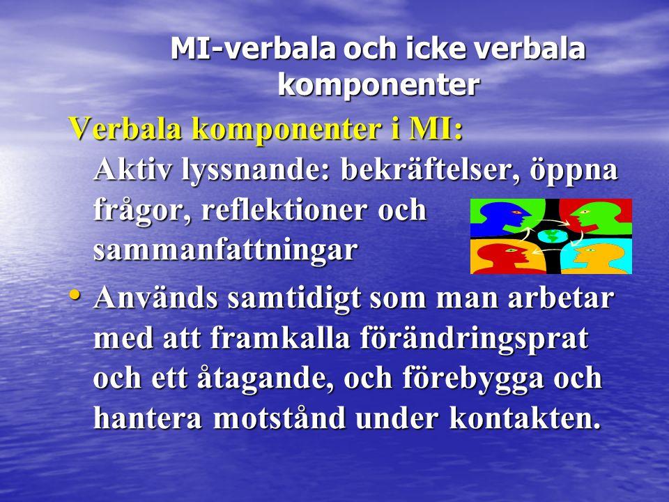 Verbala komponenter i MI: Aktiv lyssnande: bekräftelser, öppna frågor, reflektioner och sammanfattningar • Används samtidigt som man arbetar med att f