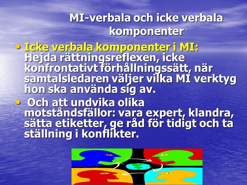 • Icke verbala komponenter i MI: Hejda rättningsreflexen, icke konfrontativt förhållningssätt, när samtalsledaren väljer vilka MI verktyg hon ska anvä