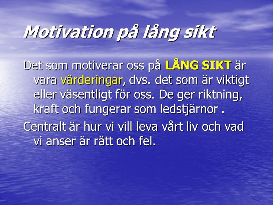 Motivation på lång sikt Det som motiverar oss på LÅNG SIKT är vara värderingar, dvs. det som är viktigt eller väsentligt för oss. De ger riktning, kra