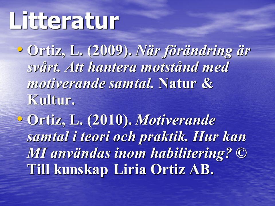 Litteratur • Ortiz, L. (2009). När förändring är svårt. Att hantera motstånd med motiverande samtal. Natur & Kultur. • Ortiz, L. (2010). Motiverande s