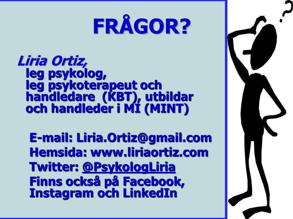Frågor? FRÅGOR? FRÅGOR? Liria Ortiz, leg psykolog, leg psykoterapeut och handledare (KBT), utbildar och handleder i MI (MINT) Liria Ortiz, leg psykolo