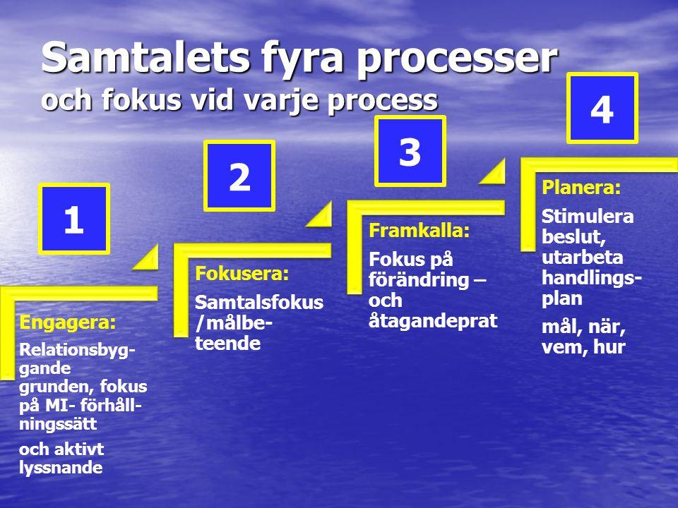 Samtalets fyra processer och fokus vid varje process Engagera: Relationsbyg- gande grunden, fokus på MI- förhåll- ningssätt och aktivt lyssnande Fokus
