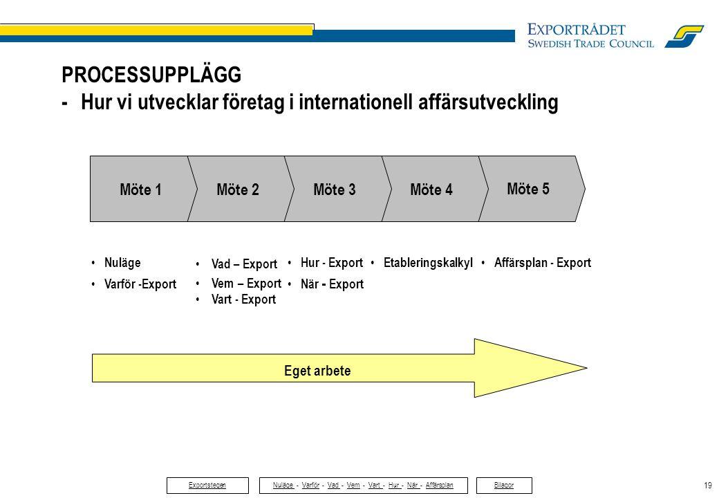19 • Nuläge • Varför -Export • Vad – Export • Vem – Export • Vart - Export • Hur - Export • När - Export • Affärsplan - Export Eget arbete PROCESSUPPL