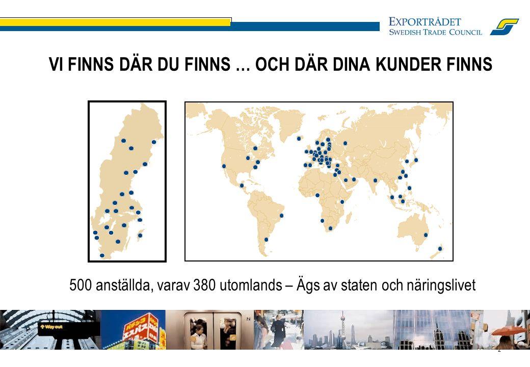 2 VI FINNS DÄR DU FINNS … OCH DÄR DINA KUNDER FINNS 500 anställda, varav 380 utomlands – Ägs av staten och näringslivet