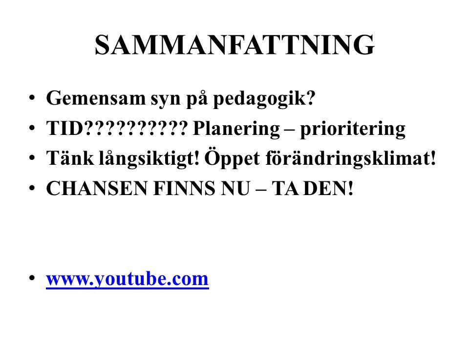 SAMMANFATTNING • Gemensam syn på pedagogik? • TID?????????? Planering – prioritering • Tänk långsiktigt! Öppet förändringsklimat! • CHANSEN FINNS NU –