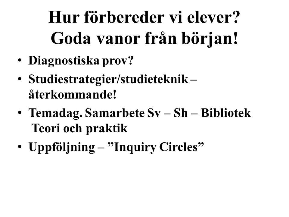 Textanalys – Inquiry Circles • Studera intressanta texter utifrån olika utgångspunkter.