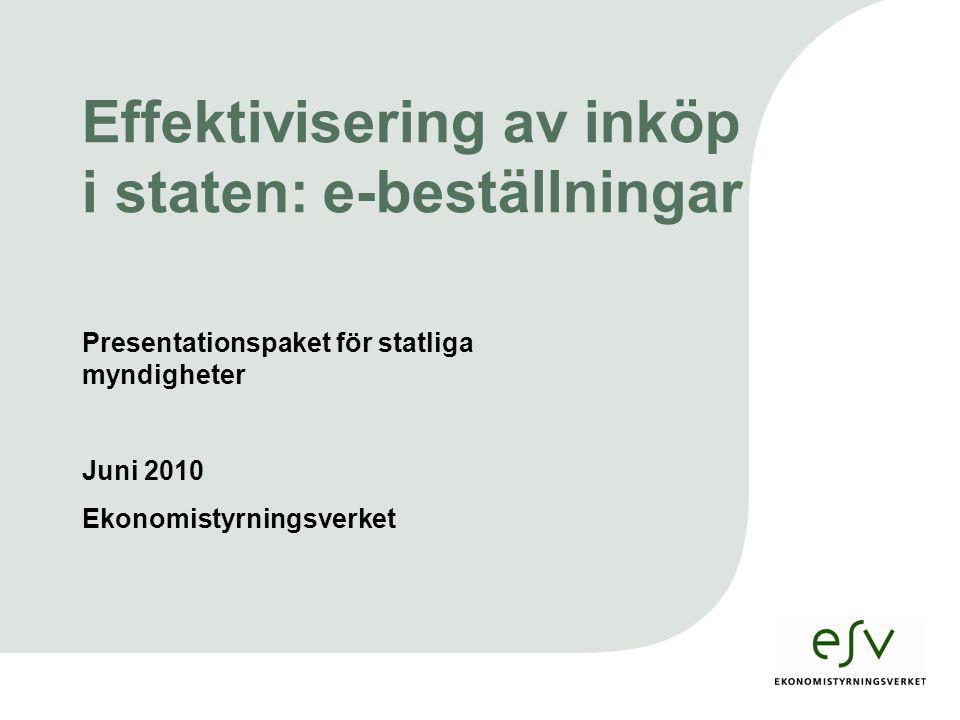 Sid 1 Presentationspaket för statliga myndigheter Juni 2010 Ekonomistyrningsverket Effektivisering av inköp i staten: e-beställningar