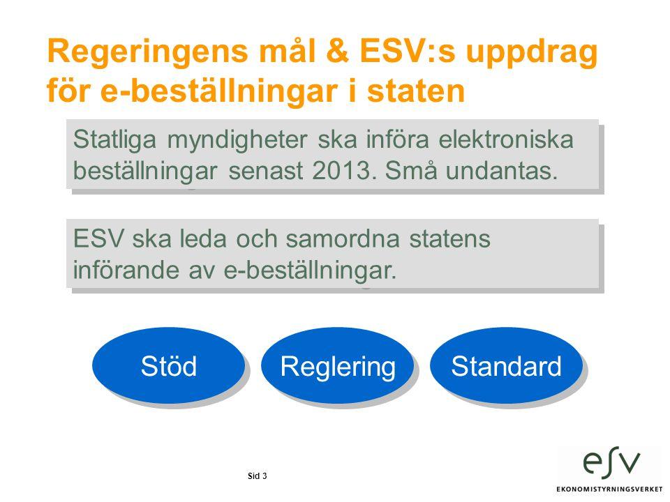 Sid 3 Regeringens mål & ESV:s uppdrag för e-beställningar i staten Statliga myndigheter ska införa elektroniska beställningar senast 2013.