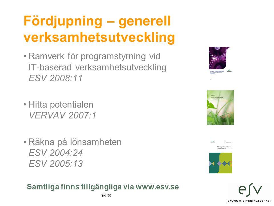 Sid 30 Fördjupning – generell verksamhetsutveckling •Ramverk för programstyrning vid IT-baserad verksamhetsutveckling ESV 2008:11 •Hitta potentialen VERVAV 2007:1 •Räkna på lönsamheten ESV 2004:24 ESV 2005:13 Samtliga finns tillgängliga via www.esv.se