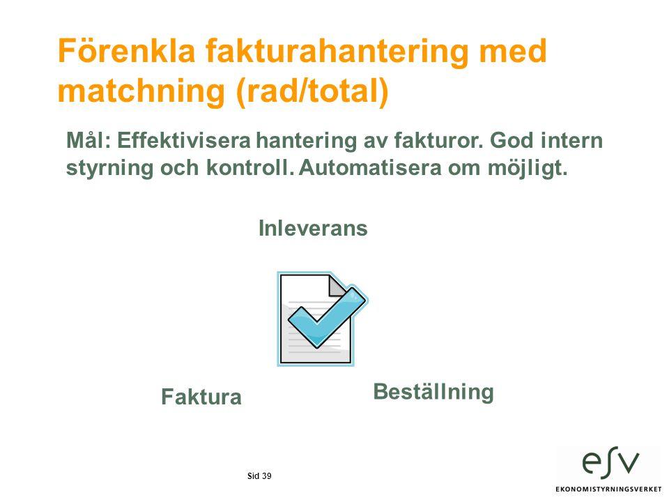 Sid 39 Förenkla fakturahantering med matchning (rad/total) Mål: Effektivisera hantering av fakturor.