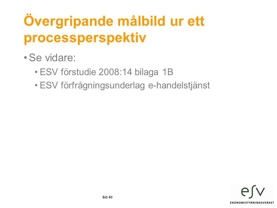 Övergripande målbild ur ett processperspektiv •Se vidare: •ESV förstudie 2008:14 bilaga 1B •ESV förfrågningsunderlag e-handelstjänst Sid 40