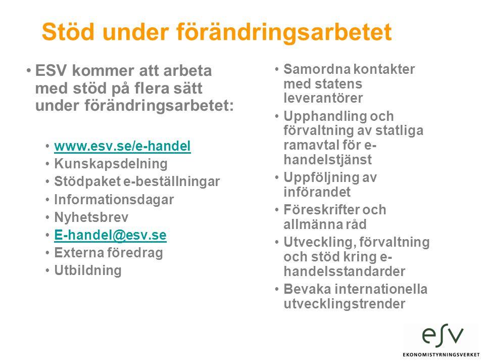 Stöd under förändringsarbetet •ESV kommer att arbeta med stöd på flera sätt under förändringsarbetet: •www.esv.se/e-handelwww.esv.se/e-handel •Kunskapsdelning •Stödpaket e-beställningar •Informationsdagar •Nyhetsbrev •E-handel@esv.seE-handel@esv.se •Externa föredrag •Utbildning •Samordna kontakter med statens leverantörer •Upphandling och förvaltning av statliga ramavtal för e- handelstjänst •Uppföljning av införandet •Föreskrifter och allmänna råd •Utveckling, förvaltning och stöd kring e- handelsstandarder •Bevaka internationella utvecklingstrender