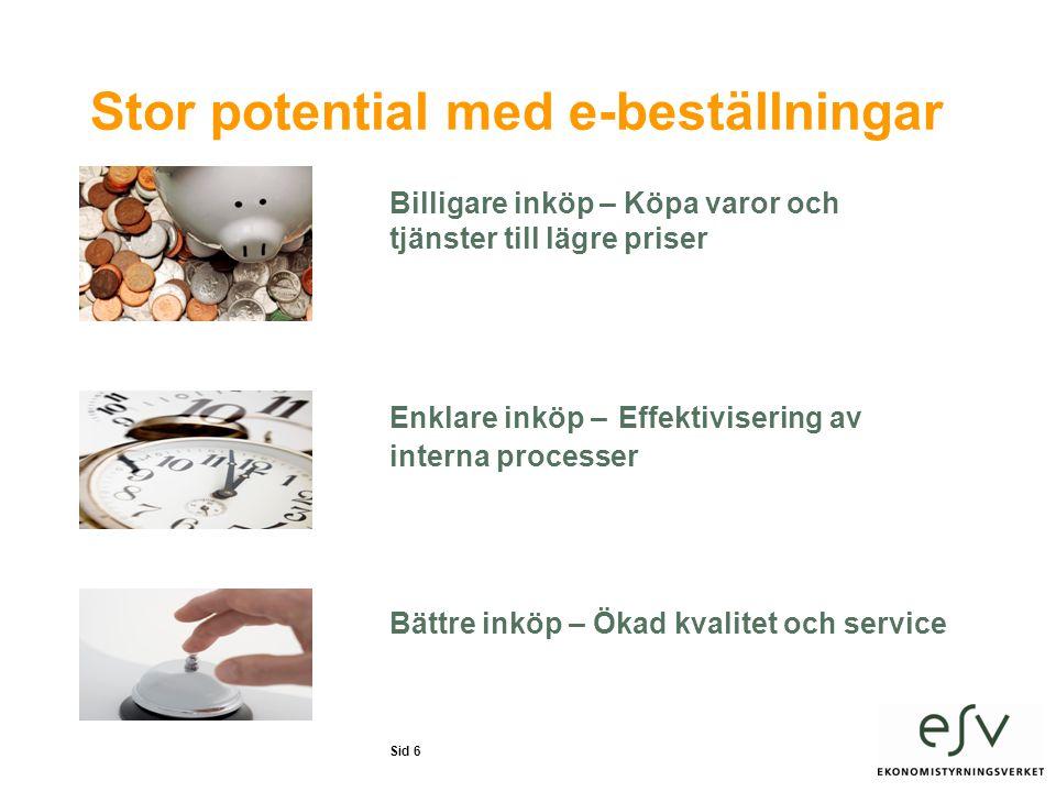 Sid 6 Stor potential med e-beställningar Billigare inköp – Köpa varor och tjänster till lägre priser Enklare inköp – Effektivisering av interna processer Bättre inköp – Ökad kvalitet och service