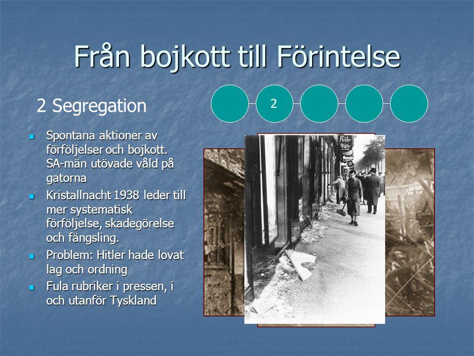 Från bojkott till Förintelse  Spontana aktioner av förföljelser och bojkott.
