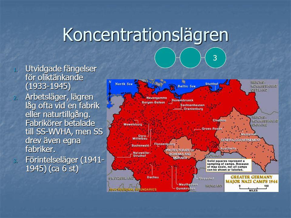 Koncentrationslägren  Politiska fångar (röd)  Yrkesförbrytare (grön)  Emigranter (blå)  Jehovas Vittnen (lila)  Homosexuella (rosa)  Asociala (svart)  Judar (gult)
