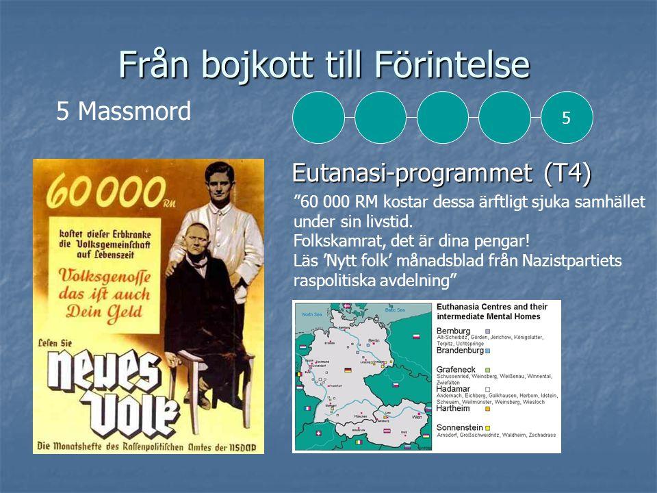 Från bojkott till Förintelse Eutanasi-programmet (T4) Eutanasi-programmet (T4) 5 Massmord 60 000 RM kostar dessa ärftligt sjuka samhället under sin livstid.