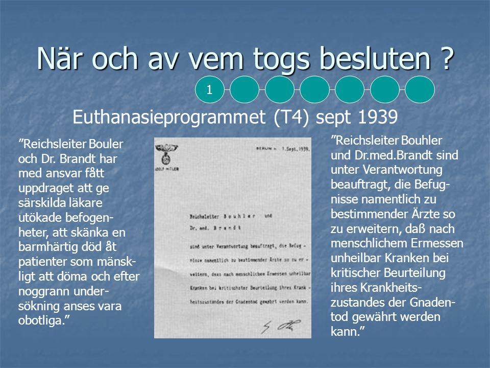 När och av vem togs besluten .Euthanasieprogrammet (T4) sept 1939 Reichsleiter Bouler och Dr.