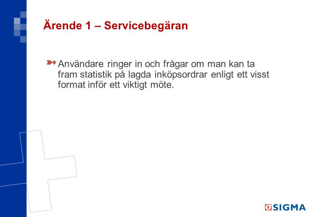 Ärende 1 – Servicebegäran Användare ringer in och frågar om man kan ta fram statistik på lagda inköpsordrar enligt ett visst format inför ett viktigt