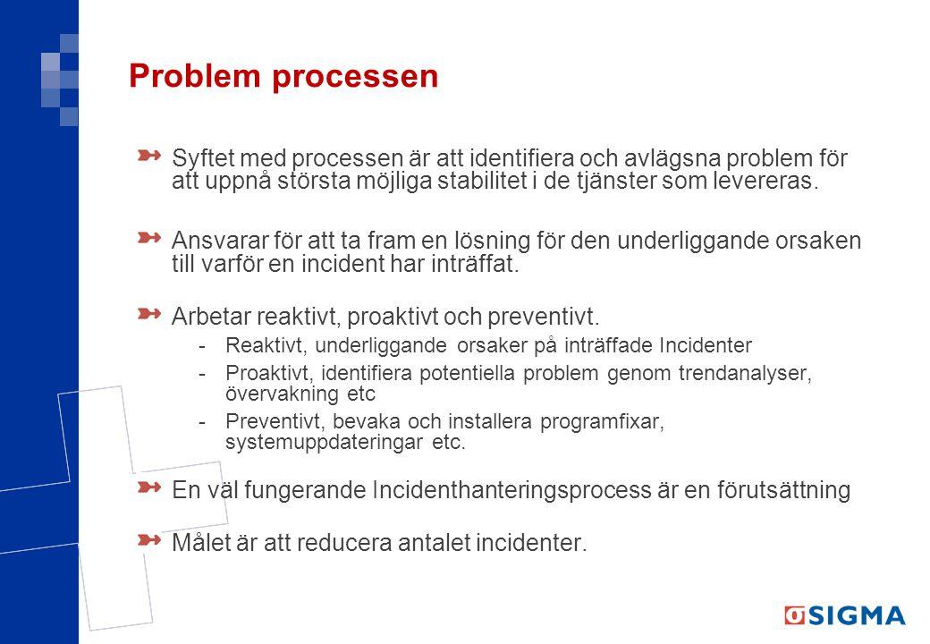 Problem processen Syftet med processen är att identifiera och avlägsna problem för att uppnå största möjliga stabilitet i de tjänster som levereras.