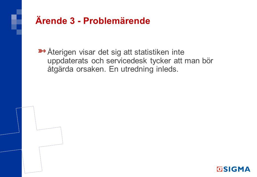 Ärende 3 - Problemärende Återigen visar det sig att statistiken inte uppdaterats och servicedesk tycker att man bör åtgärda orsaken. En utredning inle
