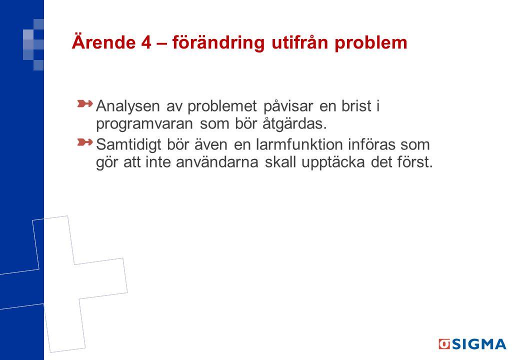 Ärende 4 – förändring utifrån problem Analysen av problemet påvisar en brist i programvaran som bör åtgärdas. Samtidigt bör även en larmfunktion inför
