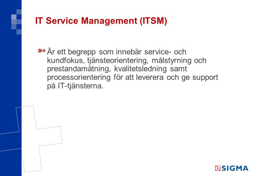 IT Service Management (ITSM) Är ett begrepp som innebär service- och kundfokus, tjänsteorientering, målstyrning och prestandamätning, kvalitetsledning