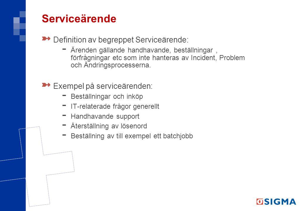 Serviceärende Definition av begreppet Serviceärende: - Ärenden gällande handhavande, beställningar, förfrågningar etc som inte hanteras av Incident, Problem och Ändringsprocesserna.