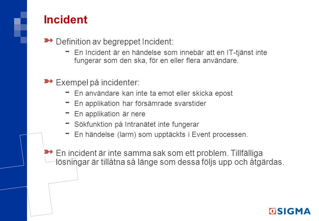 Incident Definition av begreppet Incident: - En Incident är en händelse som innebär att en IT-tjänst inte fungerar som den ska, för en eller flera användare.