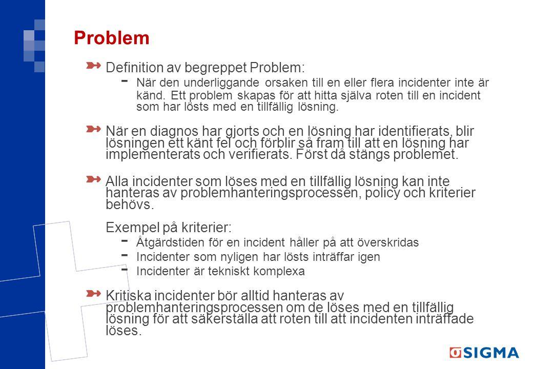 Problem Definition av begreppet Problem: - När den underliggande orsaken till en eller flera incidenter inte är känd. Ett problem skapas för att hitta