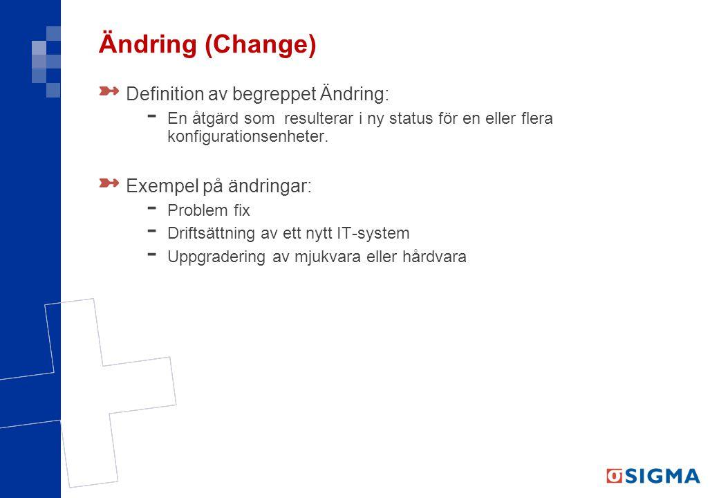 Ändring (Change) Definition av begreppet Ändring: - En åtgärd som resulterar i ny status för en eller flera konfigurationsenheter. Exempel på ändringa