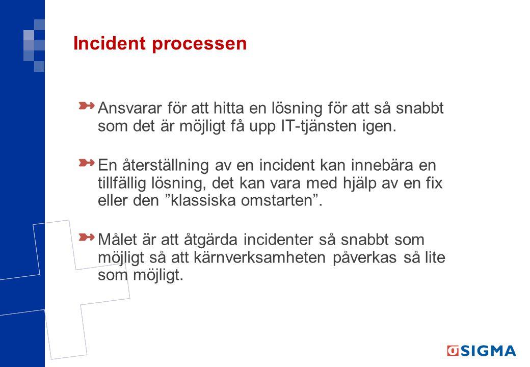 Incident processen Ansvarar för att hitta en lösning för att så snabbt som det är möjligt få upp IT-tjänsten igen. En återställning av en incident kan