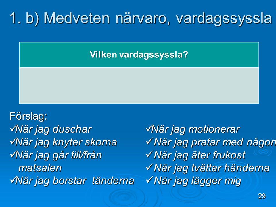 1. b) Medveten närvaro, vardagssyssla 1. b) Medveten närvaro, vardagssyssla Vilken vardagssyssla? Förslag:  När jag duschar  När jag knyter skorna 